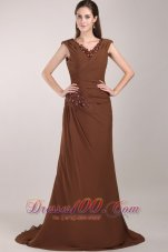 Brown V-neck Brush Train Chiffon Beading Mom's Dress