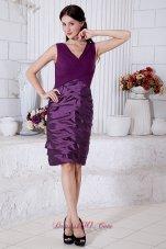 Eggplant Purple V-neck Ruch Mom's Dress Knee-length