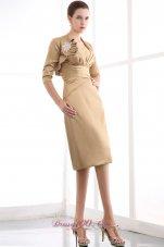 Gold Column Ruch Mom's DressKnee-length Satin