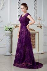 Eggplant Purple A-line Scoop Mom's Dress