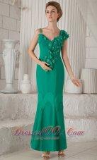 Turquoise Sheath Asymmetrical Ankle-length Mom's Dress