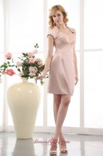 Light Pink Straps Prom Gown Mini-length Taffeta Beading