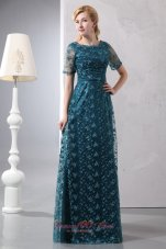 Peacock Green Scoop Mom's Dress Floor-length Lace