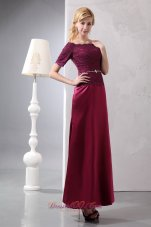 Off Shoulder Ankle-length Taffeta and Lace Prom Dress