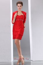 Open Jacket Half Sleeves Beading Homecoming Dress Short