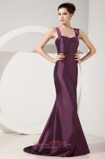 Straps Brush Train Satin Trumpet Bridesmaid Dress