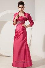 Column Short Jacket Applique Ruched Mother Bride Dress