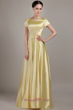 Empire Scoop Neck Ruched Long Mother Bride Dress
