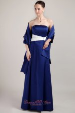 Royal Blue Mother Bride Dress White Sash Matching Shawl