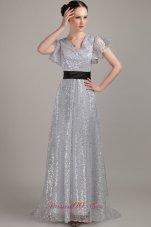 Flounced Short Sleeves V-neck Sequin Belt Mother Bride Dress