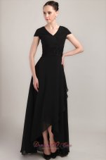V-neck Short Sleeves Uneven Hemline Mother Bride Dress