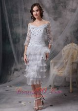 Lace Ruffles Off Shoulder 3/4 Sleeves Mother Of Bride Dress