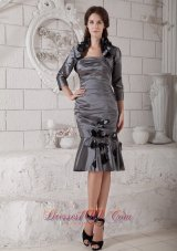 Grey Mother Dress For Wedding Flowers Pleats