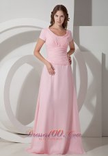 Baby Pink Mother Of The Bride Dress Scoop Chiffon