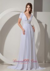 Chiffon White Court Train Mother Of The Bride Dress