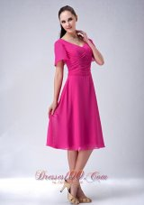 Tea-length Mother Of The Bride Dress Hot Pink