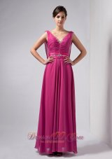 Hot Pink Column Mothers Dresses V-neck Floor-length