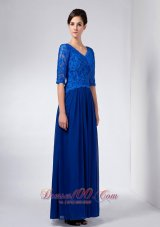 Blue Column Mothers Dresses V-neck Beading Ankle-length
