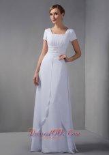 White Mothers Dresses Square Beading Chiffon