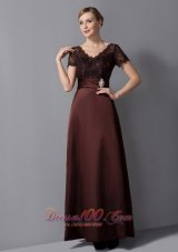 Brown Column Mothers Dresses V-neck Ankle-length Satin
