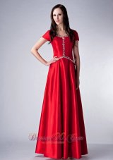 Red Scoop Bridesmaid Dress Satin Beading