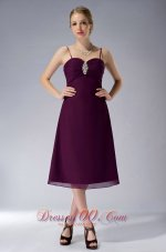 Burgundy Straps Knee-length Chiffon Mothers Dresses