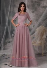 Square Neck Half Sleeves Sweep Train Mother Of The Bride Dress