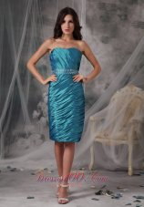 Turquoise Column Ruched Mom's Dress With Jacket