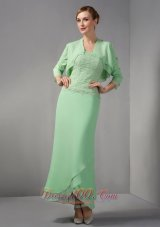 Apple Green Lace Ankle Length Mother Of Bridal Dress