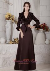 Ruffes Mother Of Bride Dress Long Sleeves Dark Brown
