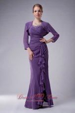 Light Purple Ruffles Mother In Law Dress With Jacket