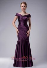Eggplant Purple Pleated Offer Shoulder Mother's Dress