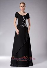 Black Scoop Neck Short Sleeves Chiffon Mother's Dress