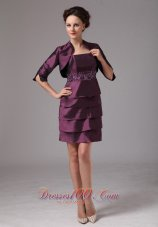 Layered Mother's Dresses For Weddings Dark Purple Short