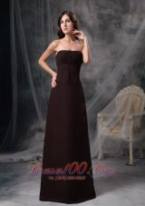 Dark Brown Strapless Bridesmaid Dress Chiffon