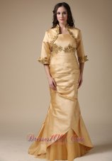Mermaid Gold Mother Of Bride Dress With Jacket