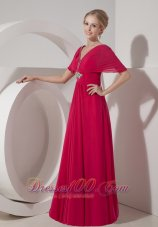 V Neck Hot Pink Mother Of Bride Dress Half Sleeves