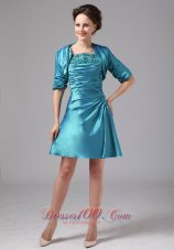 Short Mother Of Bride Dress Turquoise Ruched