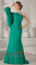 Sea Green One Shoulder Long Sleeves Mother In Law Dress