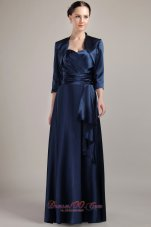 Navy Blue Halter Waistband Mother of the Bride Dress