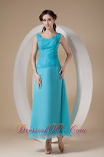Beading Chiffon Straps Ankle-length Teal Prom Dress