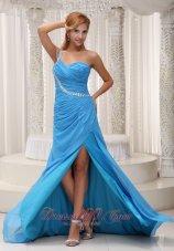 One Shoulder Prom / Evening Dress Brush High Slit