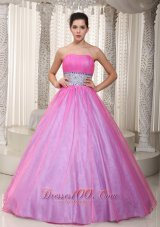A-Line / Princess Beading Sash Prom Gowns Pink