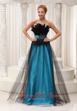 Feather Beaded Tulle and Taffeta Prom / Pageant Dress
