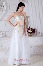 Light Apricot Waistband Beading Prom / Evening Dress