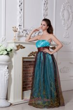 Aqua Taffeta and Brown Embroidery Prom Dress