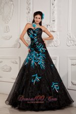 A-line / Princess Prom Dress Black Organza and Teal Applique