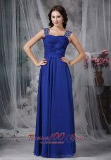 Beaded Straps Chiffon Twisted Ruch Prom Dress