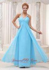 Beaded V-neck Front Straps Back Slit Prom / Evening Dress