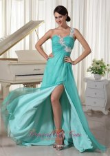 Appliques One Shoulder and Bust High Slit Prom Dress Brush Train